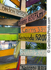 Directional wooden signs to different famous destination of the world