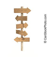 directionnel, poste, bois, vieux, signe