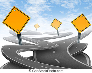 Directions and confusion representing dilemma and concept of...