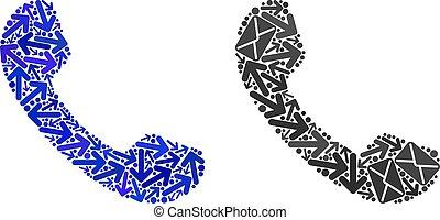 directions, courrier, téléphone, mosaïque, icônes