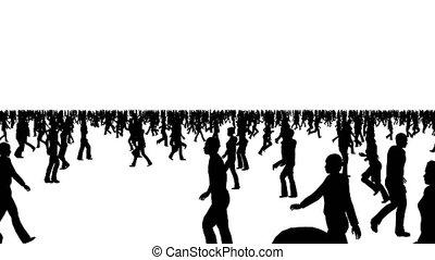 directions, différent, mouvement, foule, gens