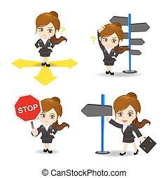 directions, femme affaires, dessin animé, illustration, choisir