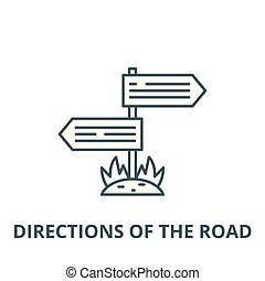 Directions of the road line icon, vector. Directions of the road outline sign, concept symbol, flat illustration