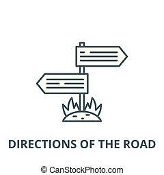 Directions of the road vector line icon, linear concept, outline sign, symbol