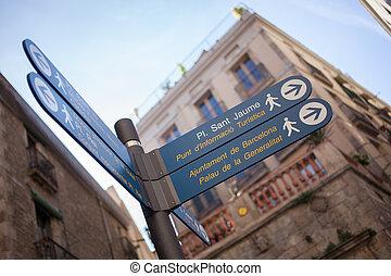 directions, poste, centre, barcelone, signe
