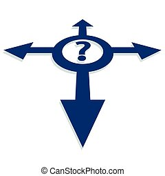 directions, résoudre, question, choisir