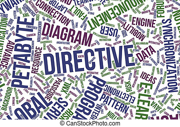 Directive, conceptual word cloud for business, information technology or IT.