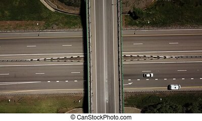 Directly above view of highway intersection car bridge and...