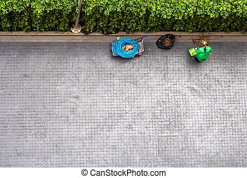 Directly above view the street cleaning worker