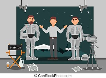 Director and actor working on the film, entertainment industry, movie making vector Illustration