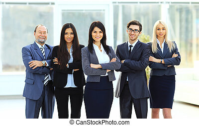 Director and business team on office background