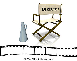 Director chair - A director chair with a megaphone beside it...