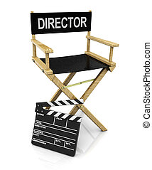 director chair and clapboard - 3d illustration of director...