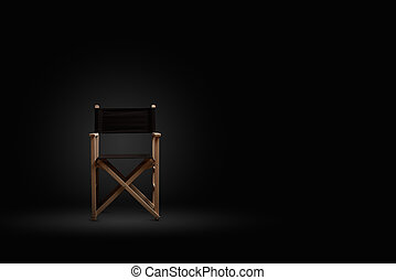 director chair banner on black background. Space for text