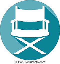 director chair flat icon (director's chair in film industry)