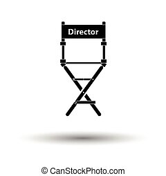 Director chair icon. White background with shadow design....