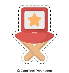 director chair star movie film cut line vector illustration ...