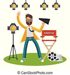 director cinematográfico, en, conjunto