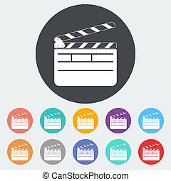Director clapperboard icon. - Director clapperboard. Single...