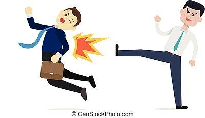 director, conseguir, empresa / negocio, hombre de negocios, patada, concept., illustration., vector, empleado, situation., traicionar, afuera