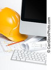 director, construcción, oficina