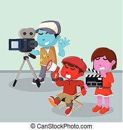 director, enojado, en, azul, cámara, y, rosa, slater