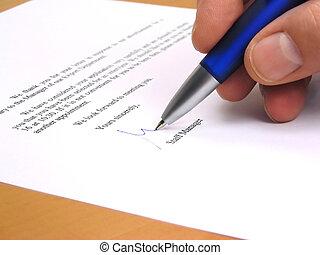 director, firma, carta, personal