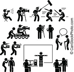 A set of pictograms representing film making scenario with the director, crews, and actors.