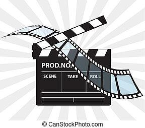 director, película, clapperboard