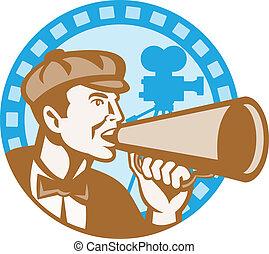 director película, gritos, utilizar, megáfono
