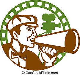 director película, megáfono, vendimia, filmadora, retro