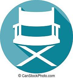 director, plano, silla, icono