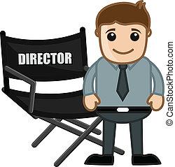 director silla, -, caricaturas, empresa / negocio