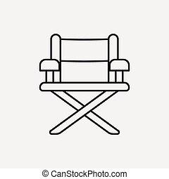 director silla, línea, icono