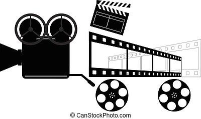 directores, clapper., cámara., carretes, película, vendimia