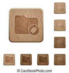 directorio, de madera, tagging, botones