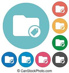 directorio, plano, redondo, tagging, iconos