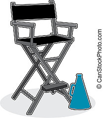 Director\'s Chair - A director\'s chair with a megaphone...