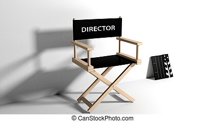 Directors chair with clapboard isolated on white