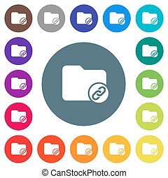Directory attachment flat white icons on round color backgrounds