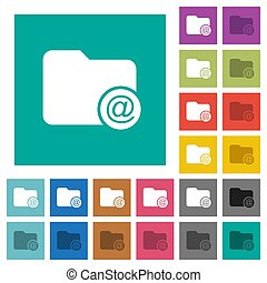 Directory email square flat multi colored icons