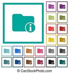 Directory info flat color icons with quadrant frames on...