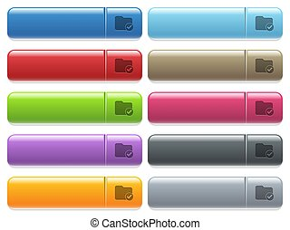 Directory ok icons on color glossy, rectangular menu button