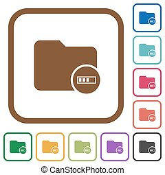 Directory processing simple icons in color rounded square...