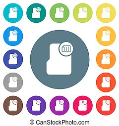 Directory properties flat white icons on round color backgrounds