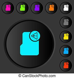 Directory warning dark push buttons with color icons