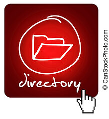 directory - web button with hand drawn symbol