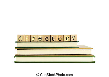 directory word on wood stamps and books - directory word on...