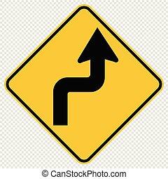 direita, à frente, curvas, sinal, tráfego, fundo, transparente, estrada