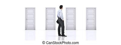direita, door., fazendo, escolher, homem negócios, 3d